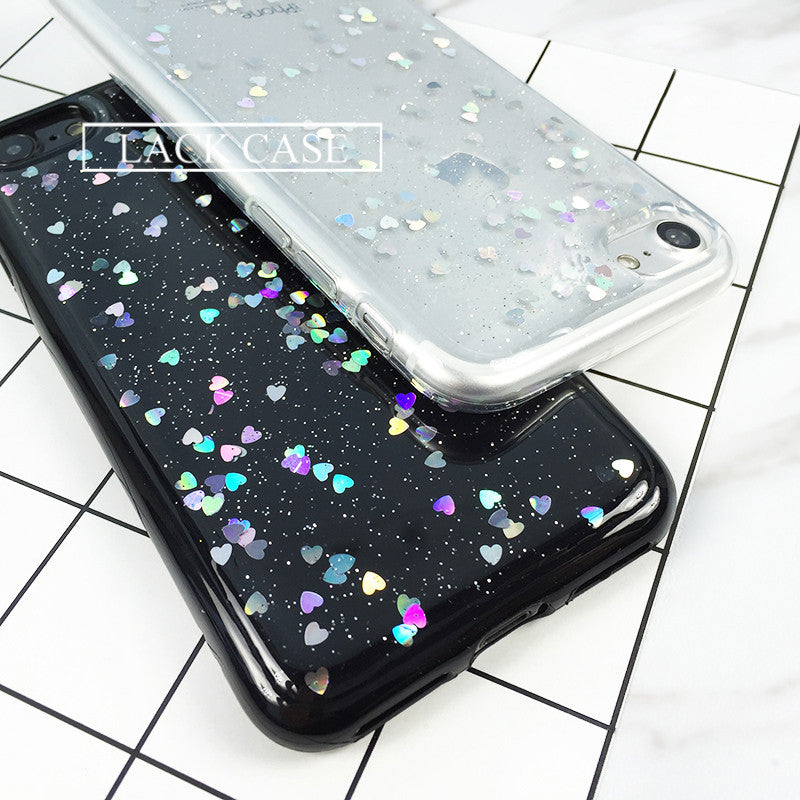Heart Shape Bling Glitter Phone Cases For iPhone