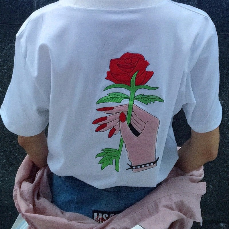 Korean Style Harajuku Embroidery T-Shirt
