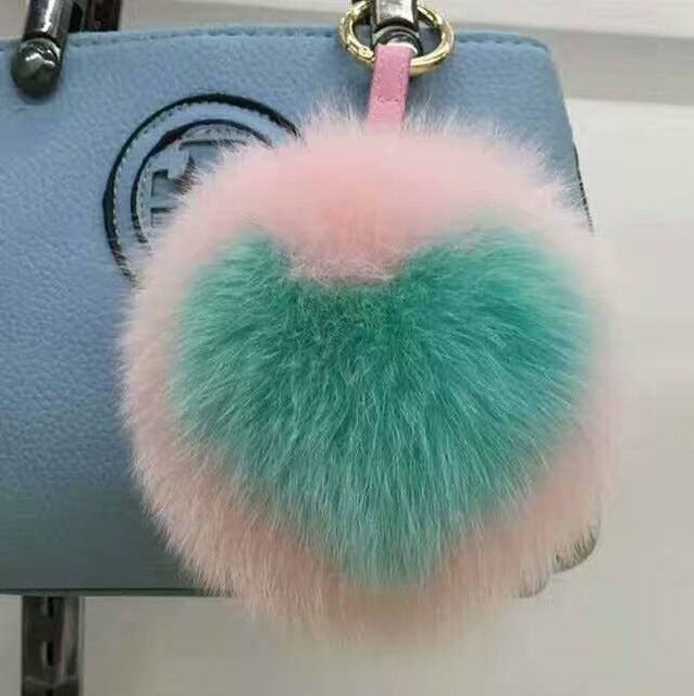 Heart Pattern Pom-Pom Key Chain