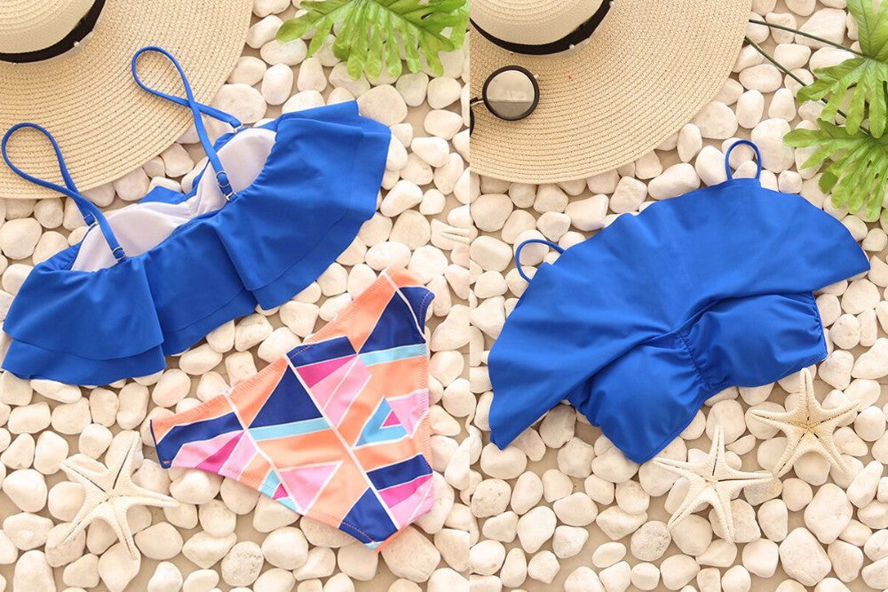 Blue Color Brazilian Push Up Bikini Set