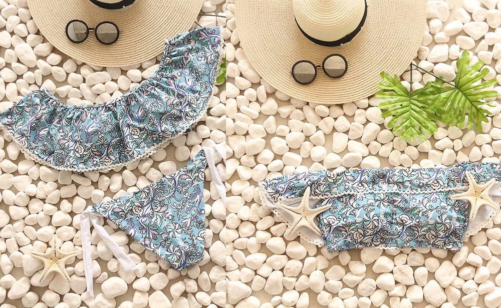 Floral Print Bat Style Brazilian Push Up Bikini Set