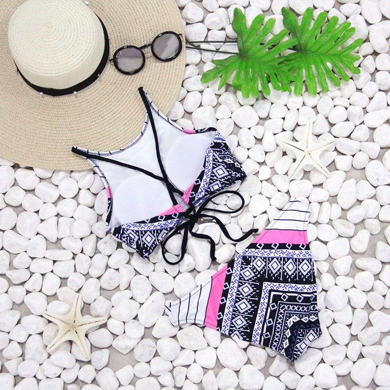 Geometric Print Brazilian Push Up Bikini Set