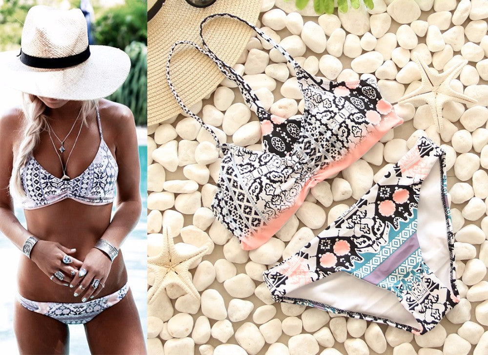 Geometric Print White Color Brazilian Push Up Bikini Set