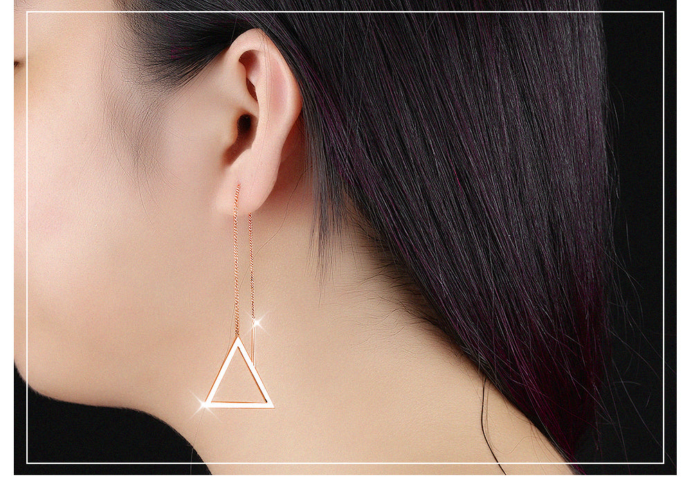 Simple Triangle Design European Style Long Drop Earrings