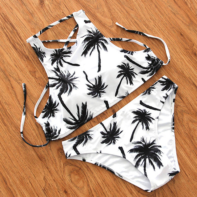 Coconut Tree Print White Color Laced Up Bikini Set