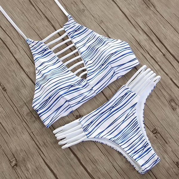 Blue Line Geometric Print Brazilian Laced Bikini Set