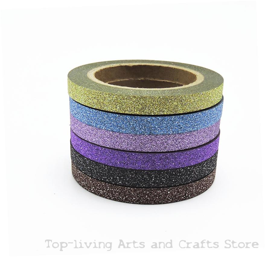 Glitter Washi Decorative Scrapbooking Tapes (6 Pieces)