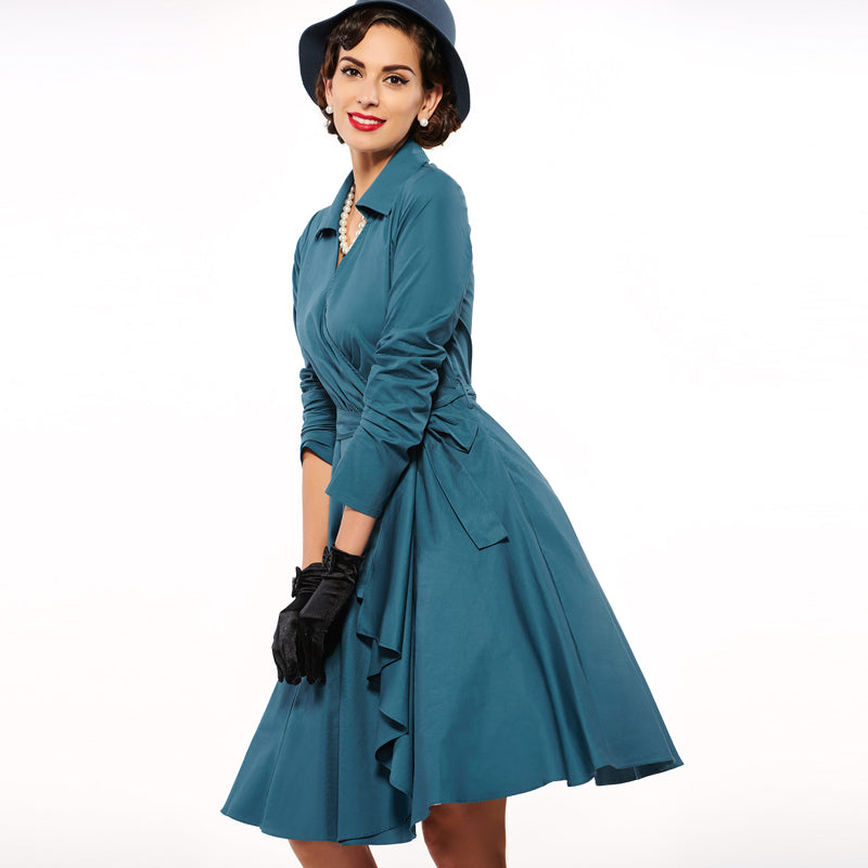 V Neck Turn Down Collar Vintage Dress