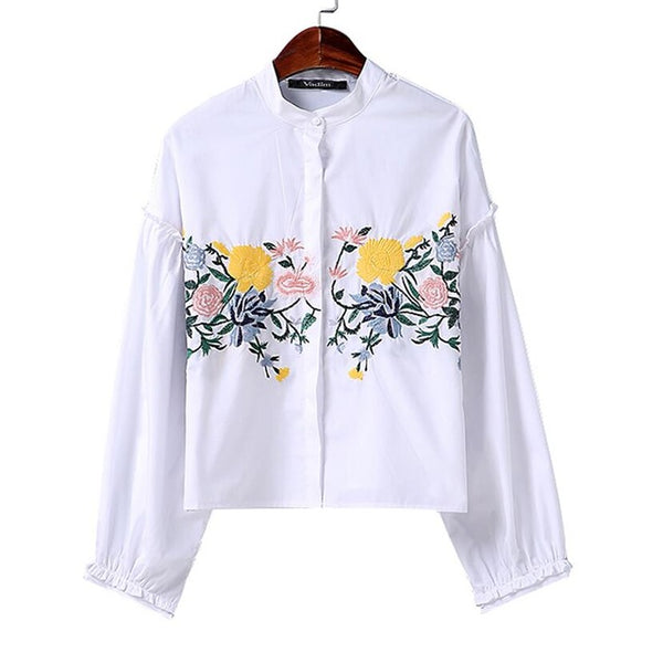 Flower Embroidery Lantern Sleeve Stand Collar Shirt