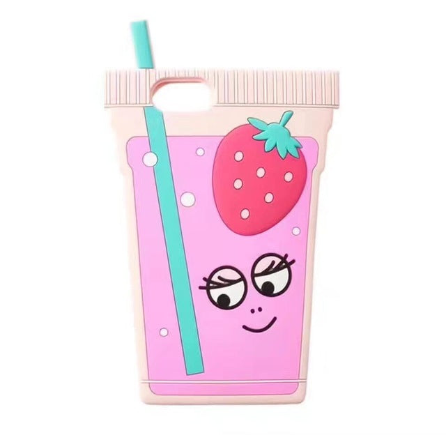 3D Style Strawberry Juice Soft Silicone Phone Cases For iPhone