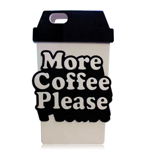 3D Style More Coffee Please Soft Silicone Phone Case For iPhone