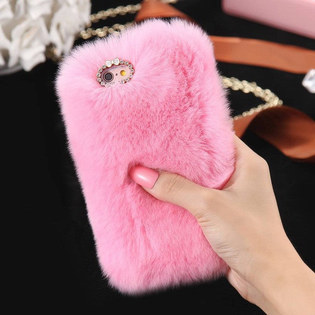 Genuine Rabbit Fur Phone Cases For iPhone & Samsung