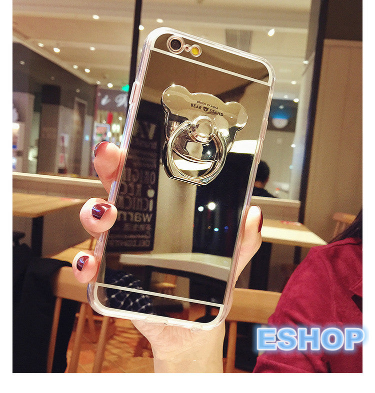 Mirror Phone Cases For iPhone With Bear Head Style Ring Holder