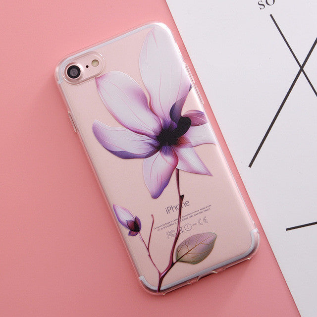Flower Print Phone Case For iphone