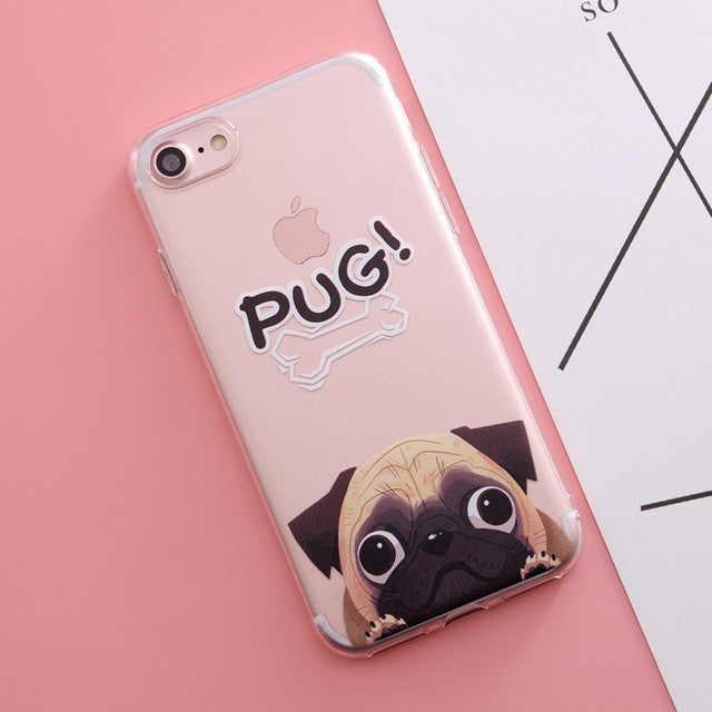 Cute Pug Print Phone Cases For iPhone