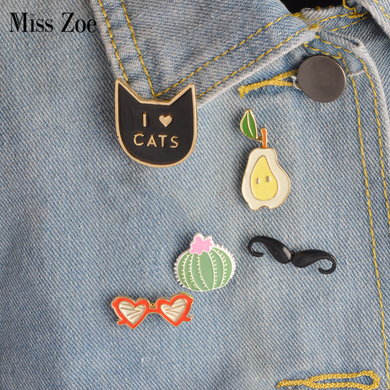 I love CATS, Mustache, Oear, Cactus & Sunglasses Brooch Pins (5 Brooches)