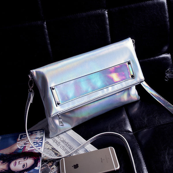 Foldable Holographic Laser Clutch Bags