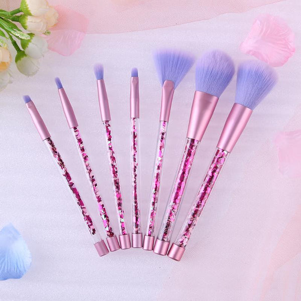 Linn™ Crystal Glitter Rose Gold Makeup Brush Set (7 Brushes)