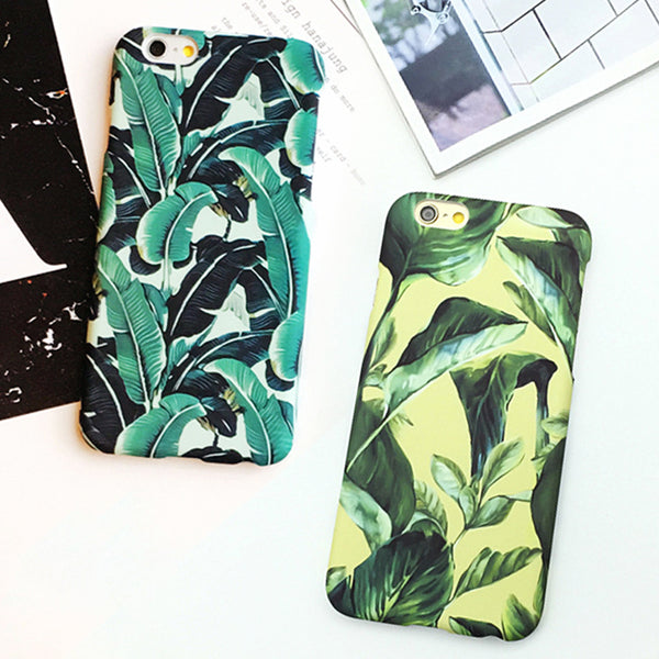 Banana Leaf Print Hard Frosted Phone Cases For iPhone