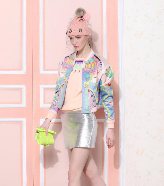 Flower Print Colorful Bomber Jacket