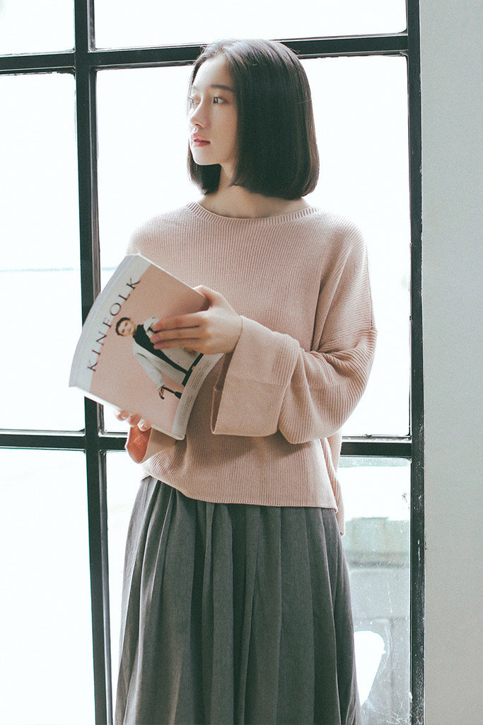 Korean Style Flare Sleeve Casual Oversized Sweater