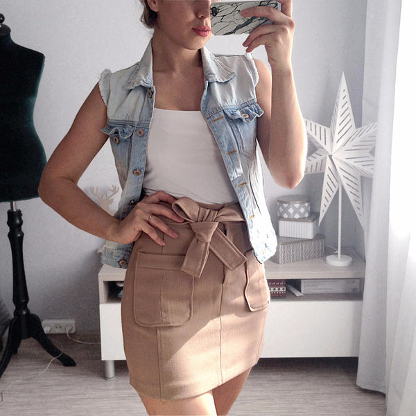 Elegant Women High Waist Khaki Skirt