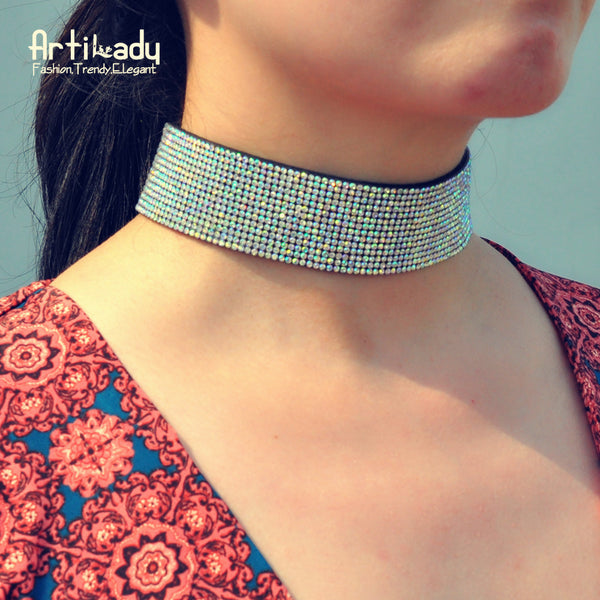 Crystal Style Leather Choker Necklace