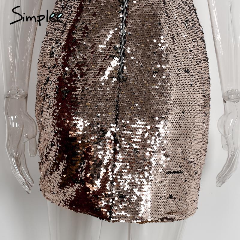 Simplee Backless Deep V Sequin Sexy Party Dress