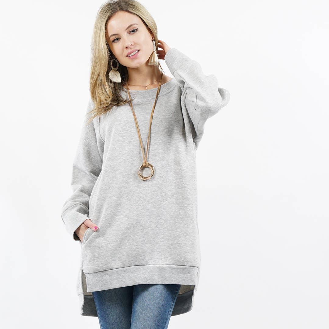 Heather Gray Fleece Sweatshirt Pullover with Side-pockets