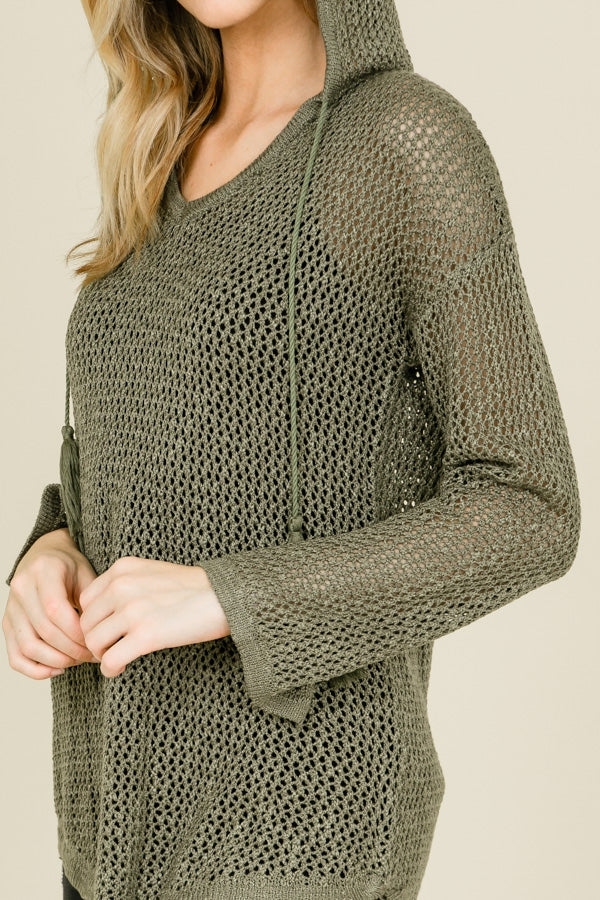Green Knit Mesh Sweater with Hood