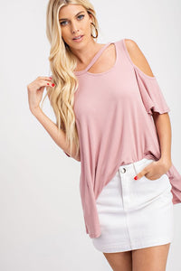 Mauve Top with Neckline Half Cut Out