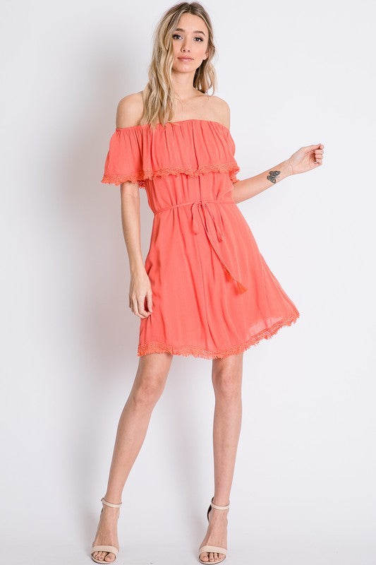 Coral Ruffle Off Shoulder Dress