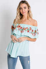 Mint Off Shoulder Embroidered Top