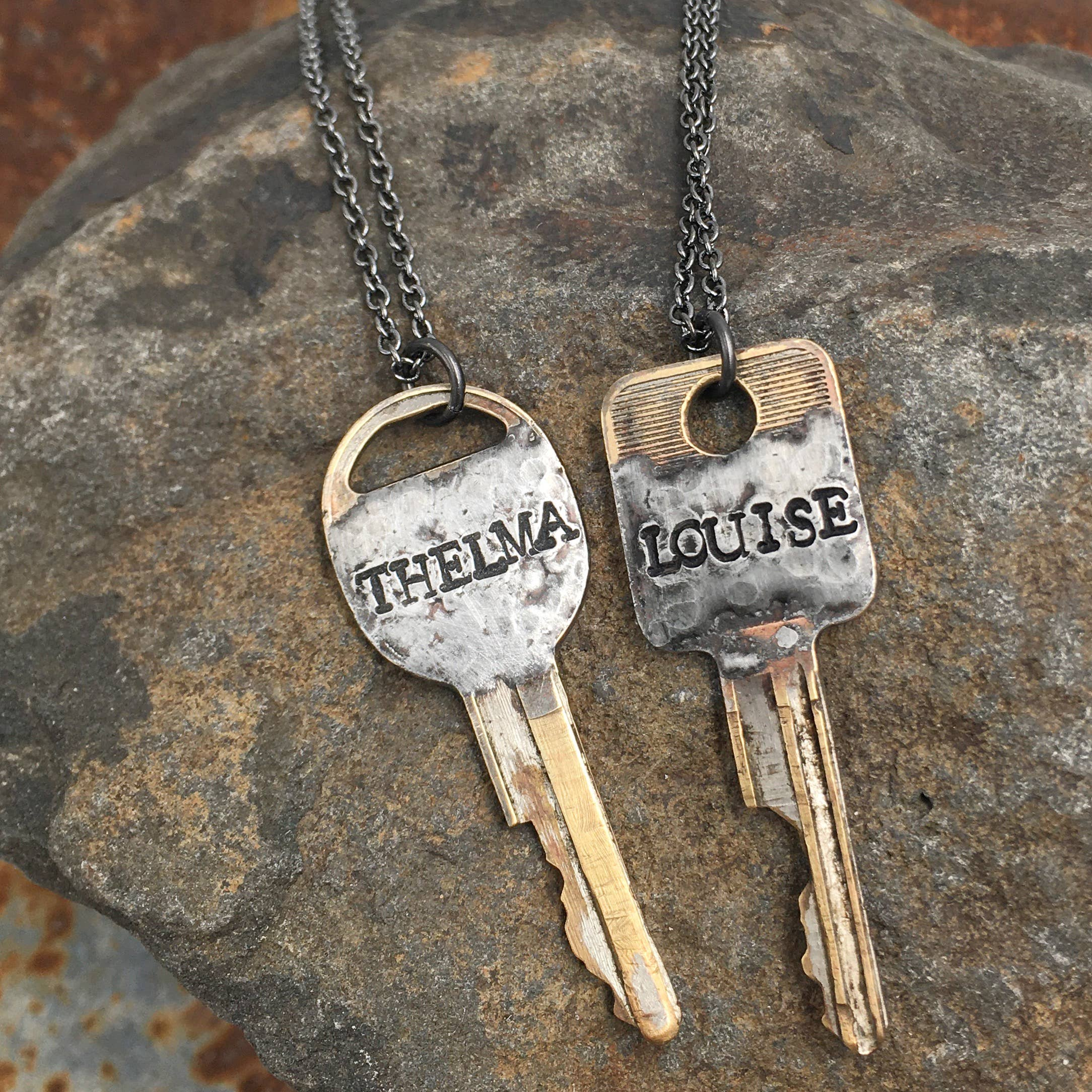 Buffalo Girls Salvage - Solder Recycled Key Necklace - Thelma or Louise