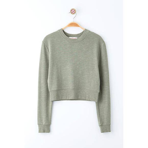 Smoke Green SOLID KNIT CREW NECK CROP SWEATER