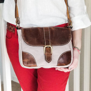 Le Papillon - Petit Cassis Canvas Genuine leather crossbody