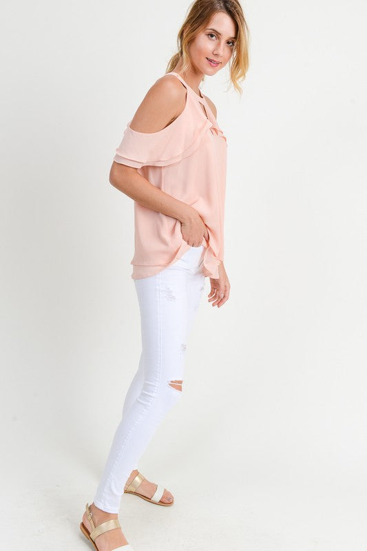 Double Ruffle Blush Top