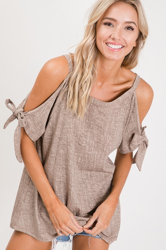 Washed Taupe Top with Bow Tie Sleeves