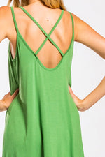 Green Cross Back Tank Dress