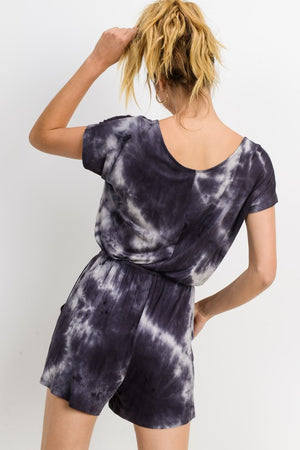 Wash Out Black & White Tie Dye Romper