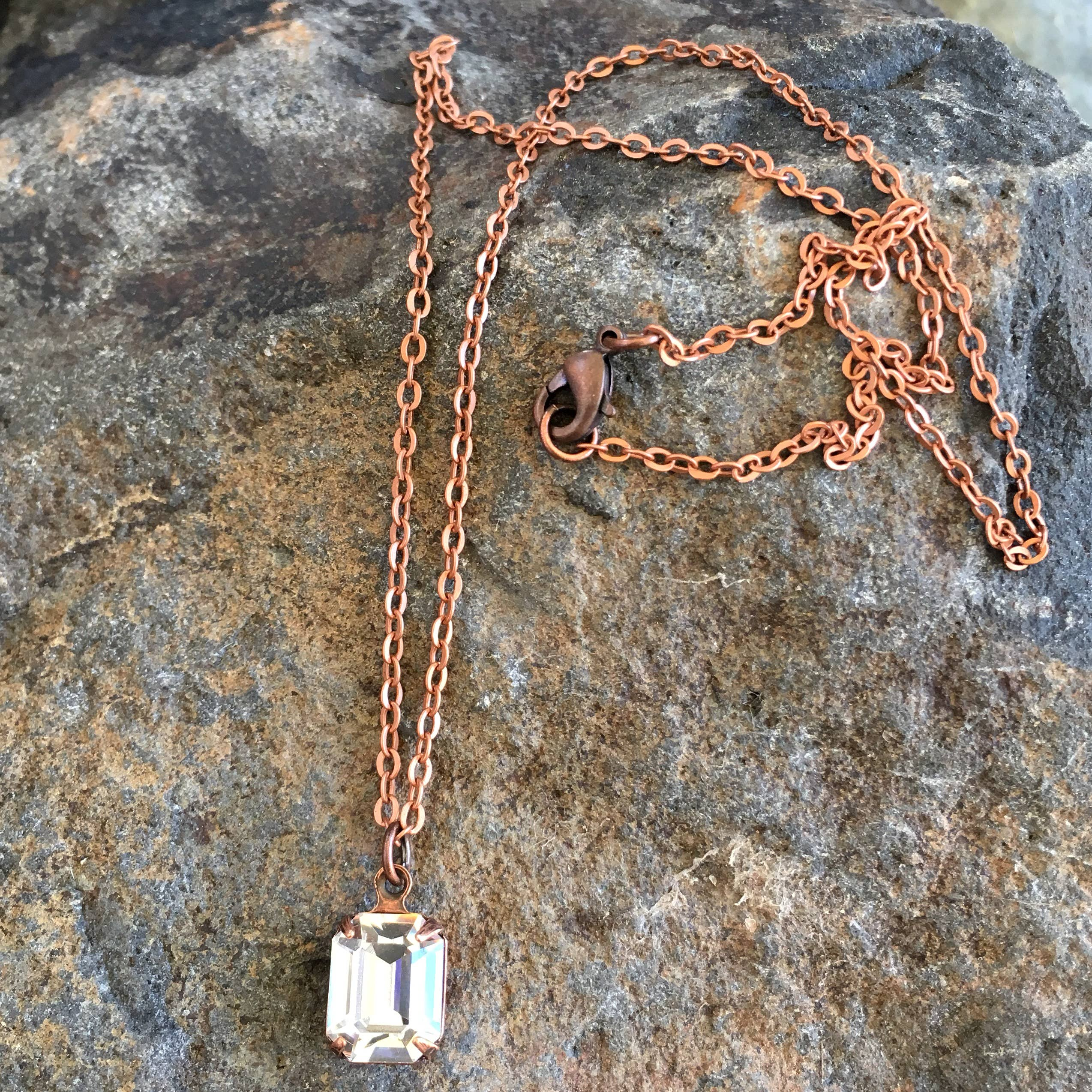Buffalo Girls Salvage - Clear Swarovski Crystal Necklaces - copper, silver or gold