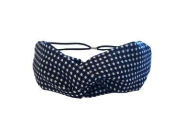 Headbands of Hope - Twist Turban Navy Checkered