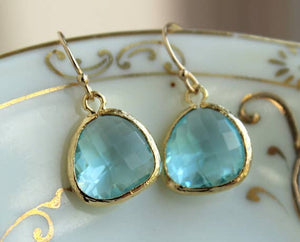 Laalee Jewelry - Aquamarine Blue Earrings Gold Plated 7113