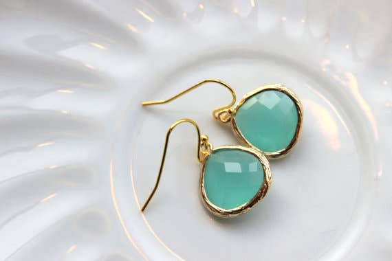 Laalee Jewelry - Gold Large Aqua Mint Earrings