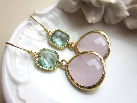 Large Pink Opal w/Aqua Earrings 8002