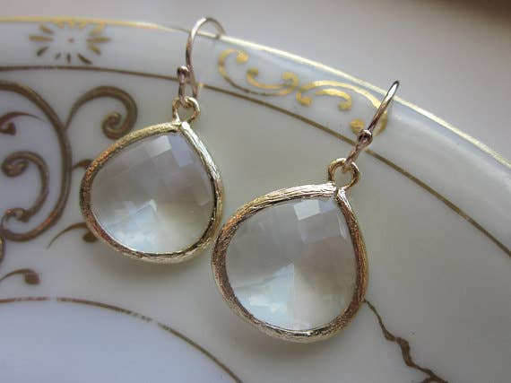 Large Crystal 1 Stone Gold Earrings 8007