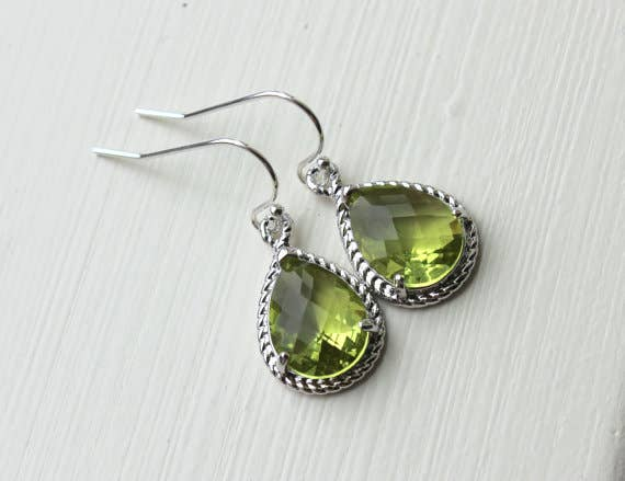 Laalee Jewelry - Peridot Earrings Silver Apple Green Jewelry Teardrop Silver Rope Style 7123