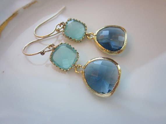 Laalee Jewelry - Aqua Blue Earrings Sapphire Gold 7112