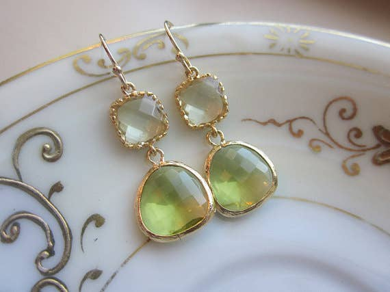 Laalee Jewelry - Peridot Earrings Green Citrine Block 7122