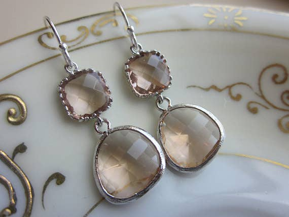 Champagne Peach Earrings Pink Silver Two Tier 9007